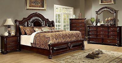 Queen Size Bedroom 4pc Set Formal Intricate Wood Carving Dresser Mirror Ns Ebay