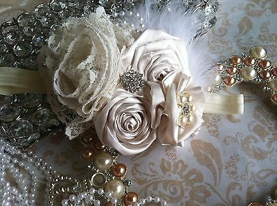 Vintage Headband Ivory Rosette Lace    Flower Stunning Prop Wedding Flower Girl
