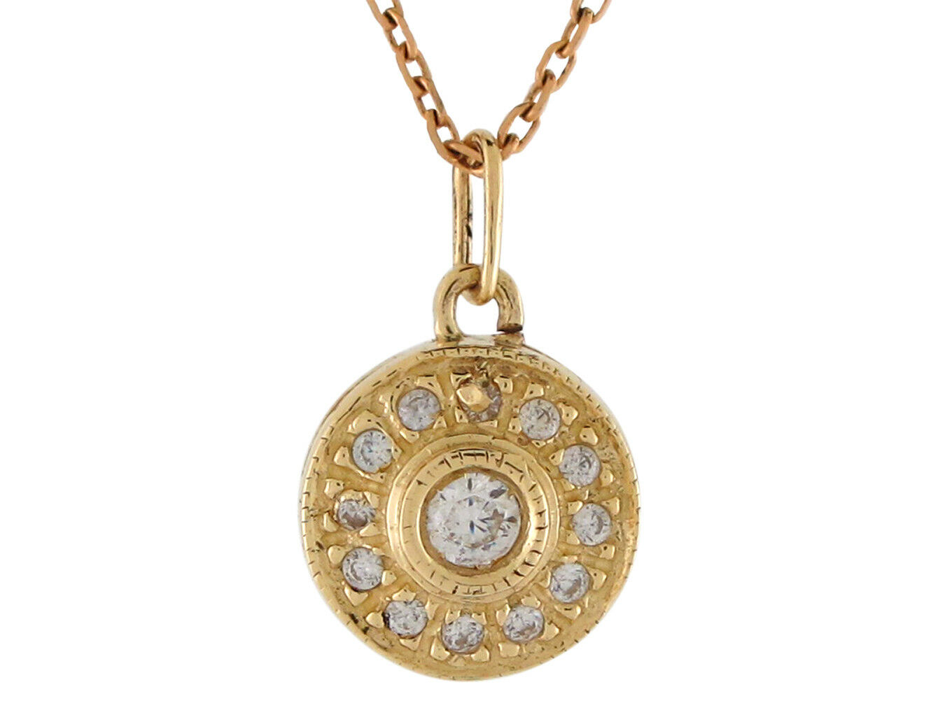 10k or 14k Yellow gold Dazzling White CZ Accented Ladies Classic Round Pendant