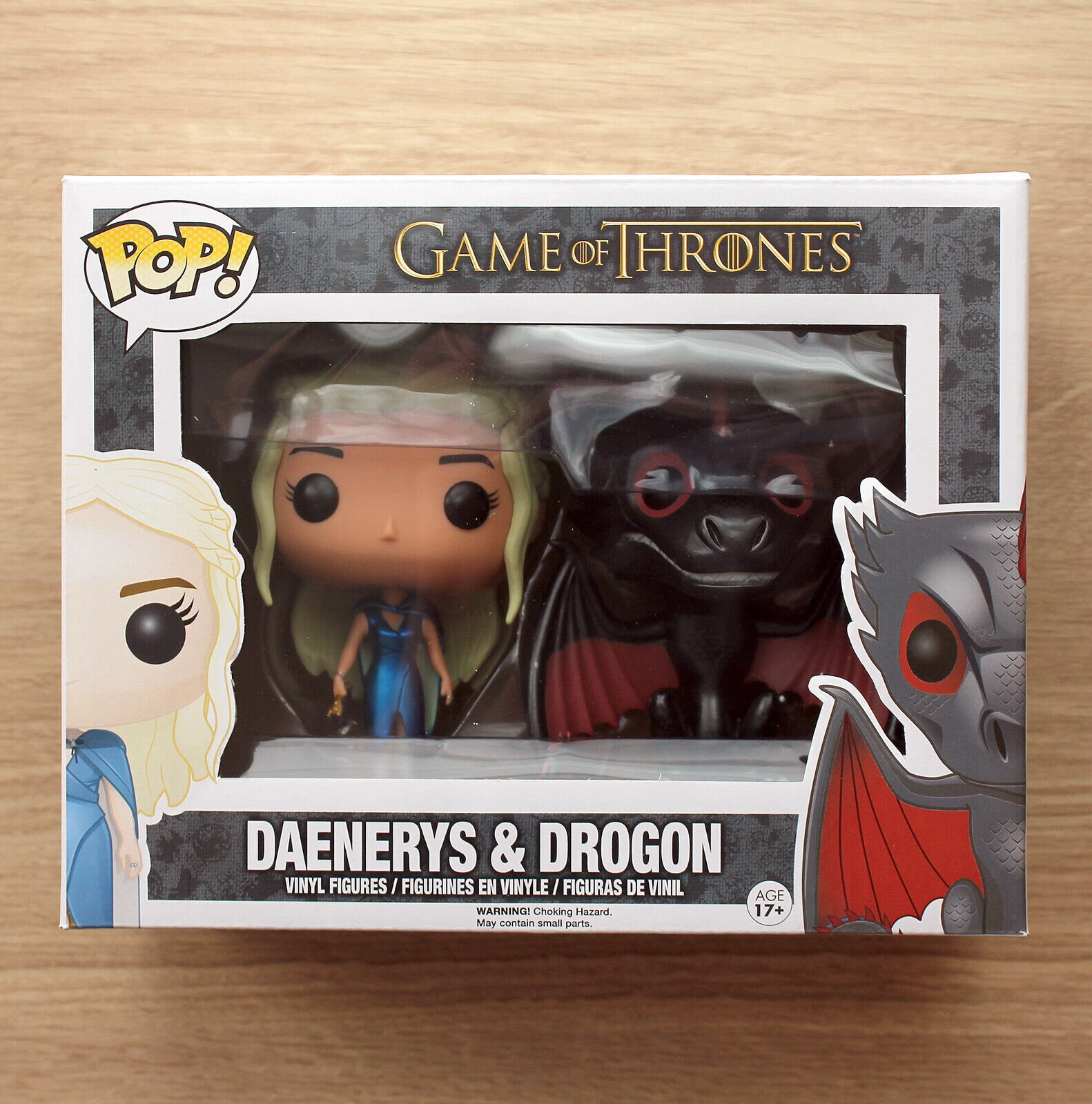 Funko Pop Game Of Thrones Daenerys & Drogon Metallic 2 Pack + Free Protector