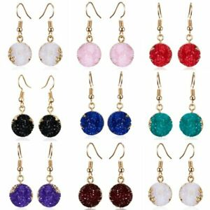 Natural-Stone-Crystal-Rhinestone-Geometry-Round-Resin-Drop-Dangle-Earrings-Gift