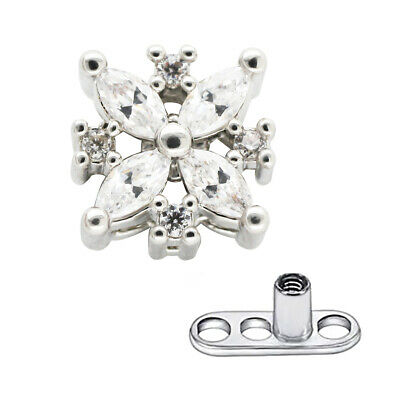 Details about  /14g Dermal Anchor Head Titanium Base Flower CZ Gem Top 6mm Skin Diver Piercing