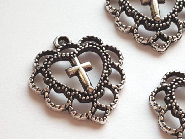 2Pcs Tibetan Silver Cross Charms Pendants 48x29mm A4373