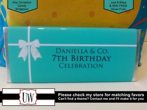 Tiffany Co Candy Bar Wrappers Favors Party Bridal Baby Shower