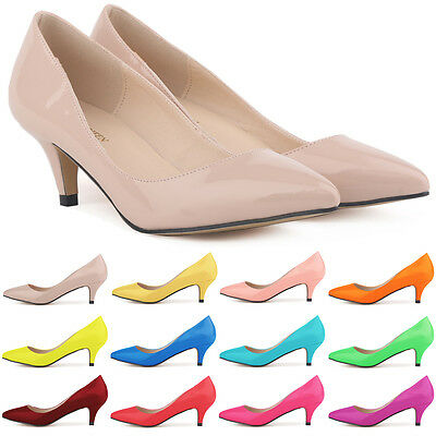 Womens Sexy Low Mid Kitten Heels Shoes Patent Leather Pointed Pumps Size 3.5-8.5