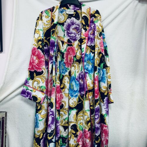 Mary McFadden Floral Robe with Nightgown/ Micro Pl