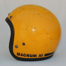 Vtg. 1975 BELL Yellow Magnum III Motorcycle, Car Racing Helmet in Size 7-1/2