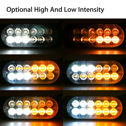 W 12-LED Car Truck Emergency Beacon Warning Hazard Strobe Light Bars 4 x Amber