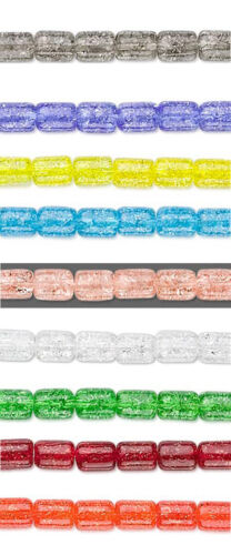 25 Czech Crackle Tube Beads 8x6mm Blue Red Pink Yellow Orange Green Clear Gray