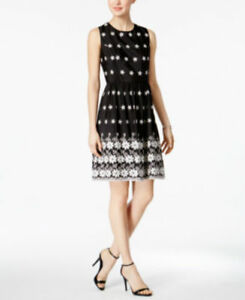 1f064a06454a Tommy Hilfiger Floral-Embroidered Fit   Flare Dress BLACK WHITE MSRP ...