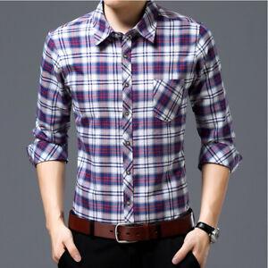 New-Mens-Casual-Luxury-Slim-Fit-Plaids-Checks-Dress-Long-Sleeves-Shirts-WA648