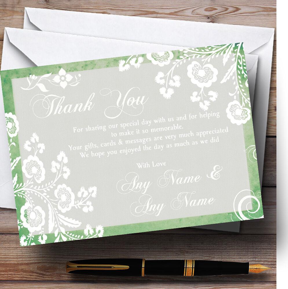 Rústico verde Encaje Personalizado Boda Tarjetas De Agradecimiento