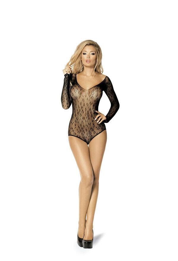 Body Noir Manches Longues Transparent Taille S/l Sexy Netzbody Lingerie