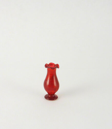 HB023 Red Closeout Dollhouse Miniature Small Fluted Bud Vase