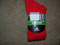 Adidas Men's Red Soccer Socks Medium Sock Size=9-11 Msrp $16 2 Pairs Brand Nip