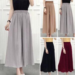 Women-039-s-Long-Loose-Wide-Leg-Cropped-Chiffon-Pleated-Culotte-Trousers-Pants-L-XL
