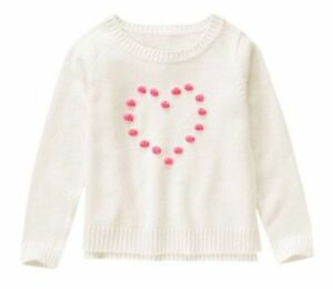 NWT Gymboree Sweater Weather Ivory Pom Heart Sweater Size XS 4