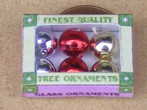 1:12 Scale 6 Mixed Christmas Tree Decorations In A Box Tumdee Dolls House Xmas
