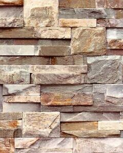 Image Is Loading J27408 Brown Grey Natural Brick Stone Textured