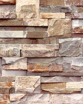 J27408 Brown Grey Natural Brick Stone Textured 3D Effect Wallpaper