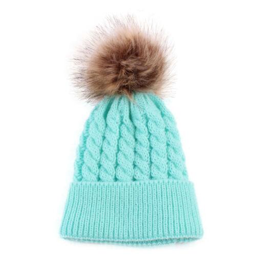2PSC Mom/&Newborn Baby Hats Winter Warm Women Boy Girl Fur Pom Knitted Beanie Cap