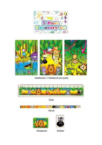 Kids Party Bag fillers 5pc Stationary Sets Football Mermaid Pony Princess Jungle