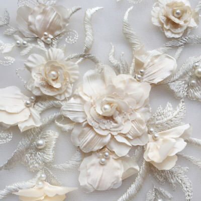 3D Beaded Pearl Bridal Gown Lace Applique Embroidery Patches Trim Collar Wedding