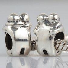 CUDDLING COUPLE HEART 925 Sterling Silver Charm Bead Fits European Bracelet