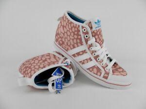 Womens adidas Honey Herren Damen Sneaker Schuhe Hi Tops Leinwand Turnschuhe Rot Weiß günstig online kaufen