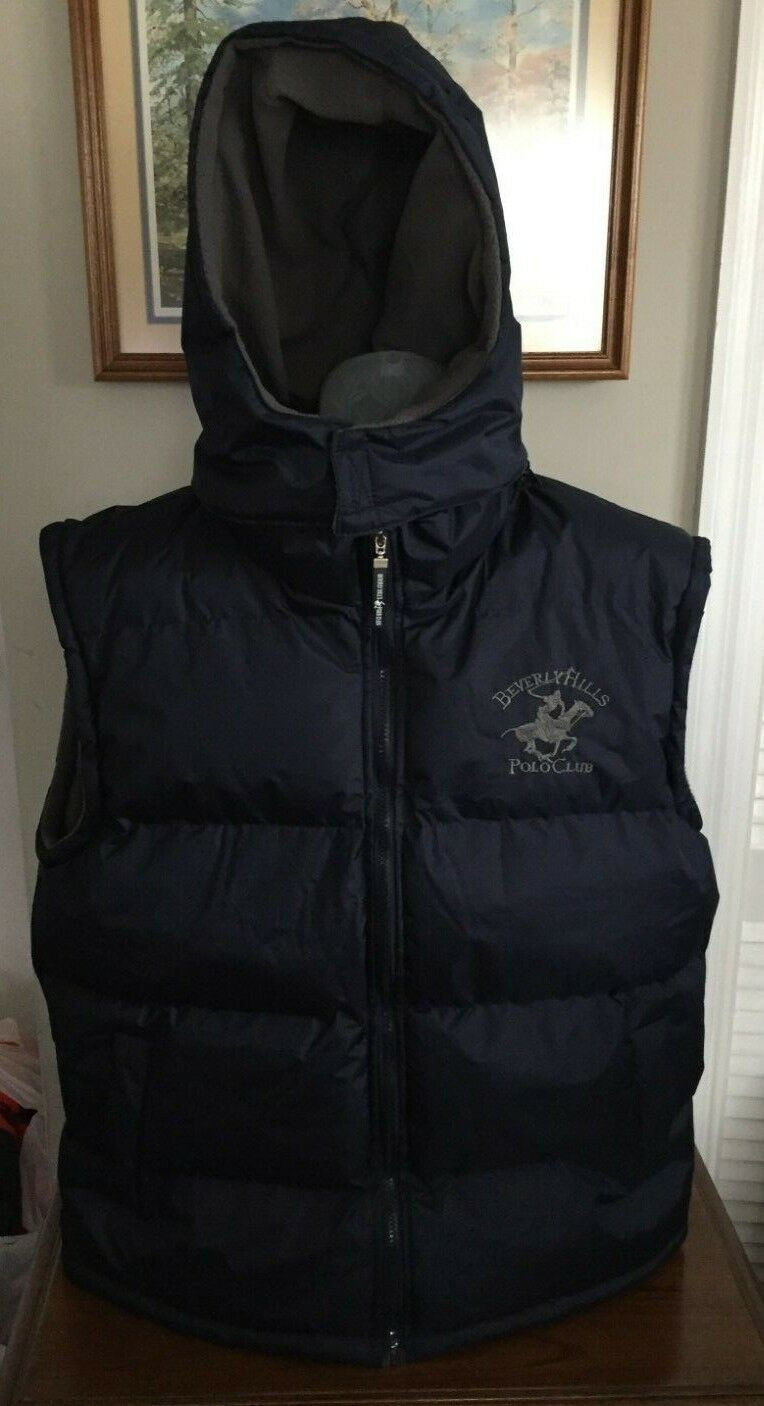 Beverly Hills Polo Club Navy Quilted Puffer Vest w detachable hood Size XL