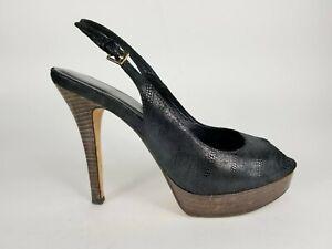 Cole-Haan-Black-Leather-Slingback-Heels-Platform-Peep-Toe-Casual-Women-Shoe-8-5B