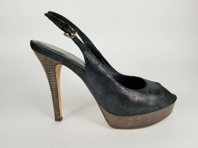 Cole Haan Black Leather Slingback Heels Platform Peep Toe Casual Women Shoe 8.5B