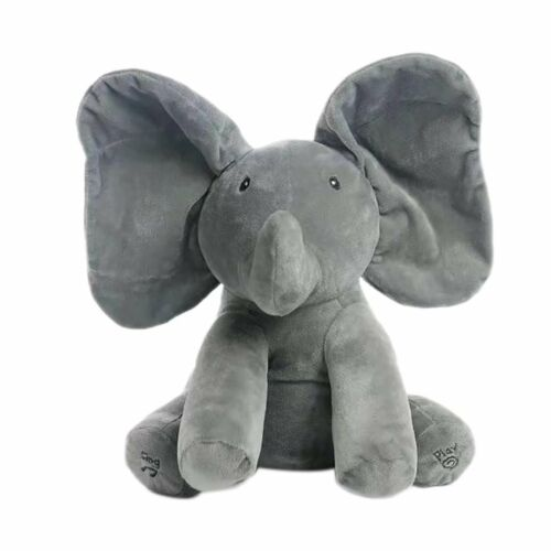 "Peek A Boo Elephant Baby Flappy Plush Toy Singing Stuffed Animated Kids Doll 12/"""