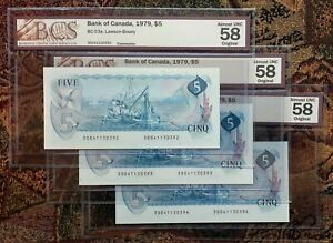1979-Bank-of-Canada-5-Dollars-Set-of-3-Consecutive-BCS-CH-AU-58-Original-BC-53a