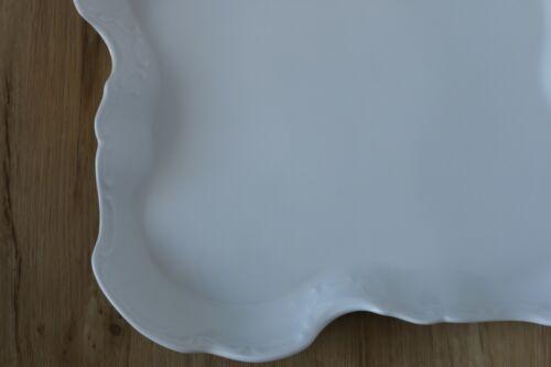Porzellan Gebäck Platte Teller Rocaillen wohl Barockform wiess 27 x 27 cm WS3