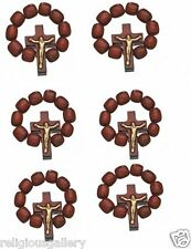Catholic Crucifix Rosary Ring, Wood Finger One Decade Prayer Ring, Lot of 6