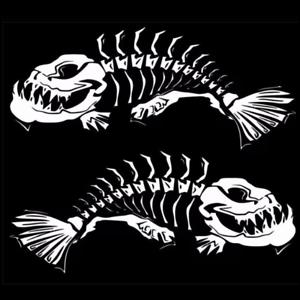 2 x 59*31CM White Fish Skeleton Decals Sticker Fishing Boat Graphics Universal