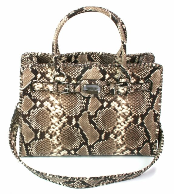 adbe74cc7a26 Michael Kors Whipped Hamilton Natural Snakeskin Embossed Leather Tote  Handbag for sale online