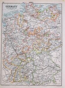 1894 Landkarte Deutschland Western Teil Mecklenburg Oldenburg Brunswick Bavaria