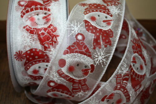 NEW sparkling white//red ribbon lace X mas crafts Christmas Gift Wrapping Snowman