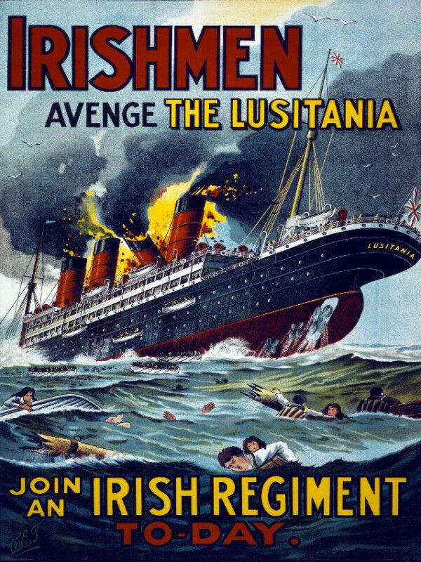Vintage POSTER.Stylish Graphics.IRISH Lusitania Ship.Wall Art House Decor.1245