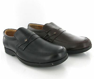 Aktiv Leather Slip On Mens Black Or Brown Casual Formal Shoes Size 6-12