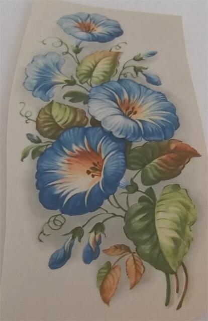 "#021 Ceramic Decals 3 LARGE BLUE MORNING GLORIES  6"""