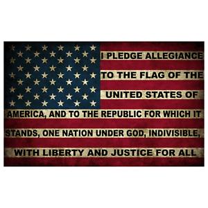 American Pledge of Allegiance Flag Sticker 5x3 Inch United States Retro Decal