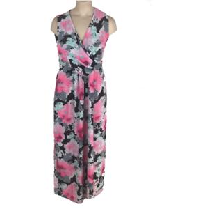 innovative design e4f70 3c80a Details zu Maxikleid Gr.44+46+52 Sommerkleid Stretch Grau pink Maxi Kleid  lang Damen Sommer