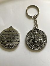 Templar Seal code dr70 Made From Fine English Pewter on a Split Ring Keyring