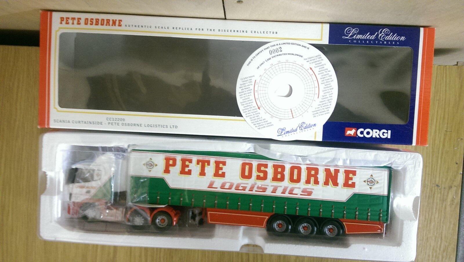 Corgi CC12209 Scania Curtainside Pete Osborne Logistics Ltd Ed No. 0002 of 2600