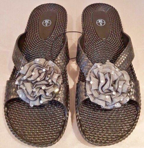 Ladies Jelly Style flip flop comfy sliders//diamante flower Sizes UK 3-8