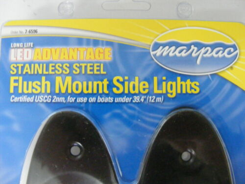 Marpac 7-6596 Side Boat LED Navigation Light RED-GREEN Flush Mount BLACK MD