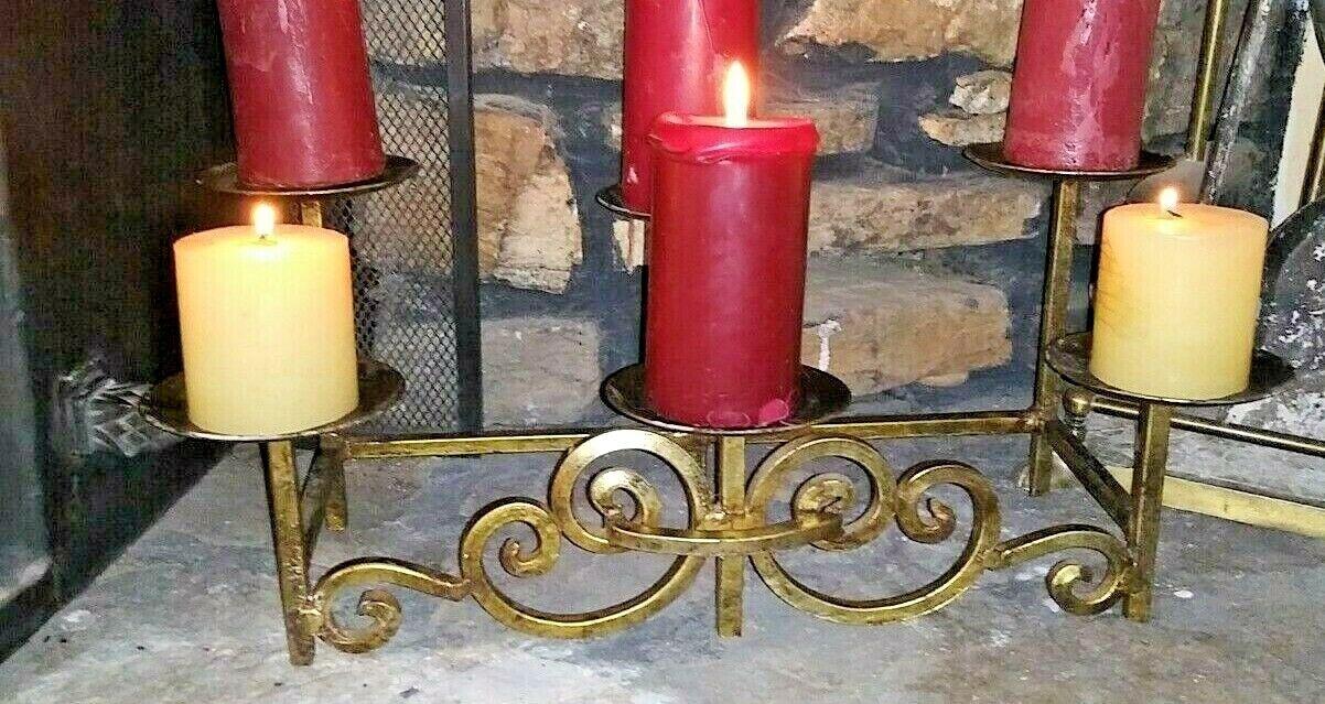 Cast Iron Fireplace 6 Pillar Candle Holder Candelabra